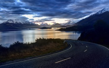 landscape,Road,clouds,new zealand,sky
