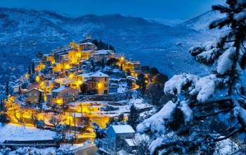 winter,ligths,village,snow