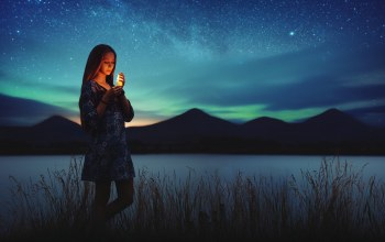 northern lights,girl,lights,peaks,Milky way,candle,grass,mountains,...,dress,Aurora borealis