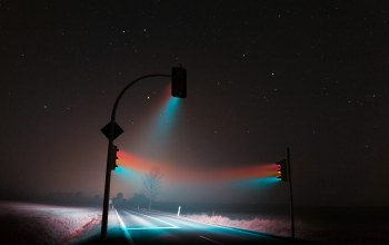 свет,светофоры,weimar,traffic lights,трасса,fog,ночь,Soft light,туман,roaming
