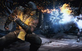 mortal kombat 10,scorpion,ninja,yellow eyes,mask,forest,fire,...,shinobi,strong