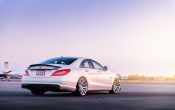 renntech,cls 63,c218,White,rear,cls-klasse,мерседес бенц