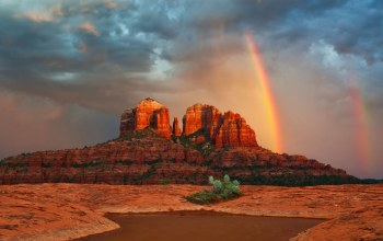 rainbow,canyon,rain,sky,mountain
