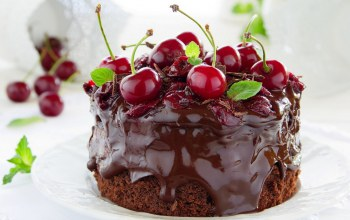 cherries,cake,cream,Вишни,торт,chocolate,шоколад,крем,food,сладкое,пирожное