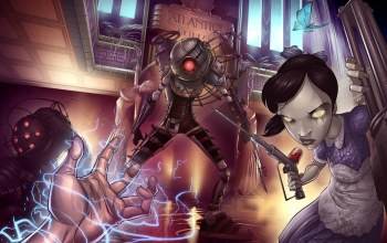big daddy,fan,little sister,bioshock 2,Big Sister,rapture,2k games