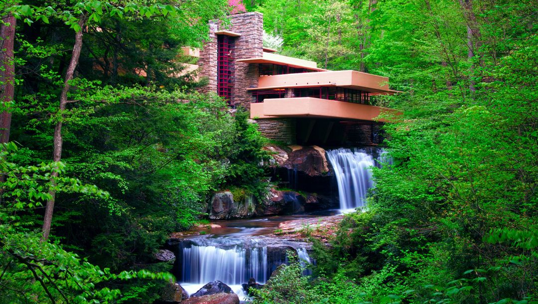 house,forest,river,waterfall,trees