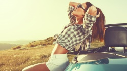 car,woman,freedom,relaxation