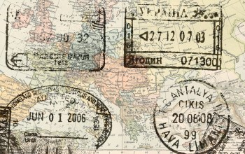 map,europe passport,stamps