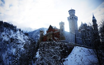 Бовари,альпы,Neuschwanstein castle,Bovary,alps,Germany,замок нойшванштайн,германия,winter