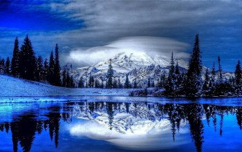 reflection,snow,mountain