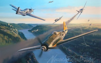 aviation,german fighter,ww2,Fw 190,nicolas trudgian,painting,war