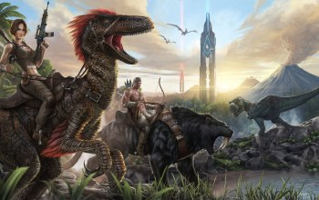 охотник,sabertoothed tiger,...,tyrannosaur,ARK Survival Evolved,саблезубый тигр,tower,башня