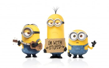 Despicable,Universal ...,banana,wallpaper,guitar,films,funny,yellow,animation,Despicable me 2,minions,three,eyes
