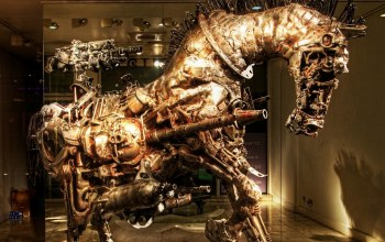 Steampunk sculpture,work of art,horse