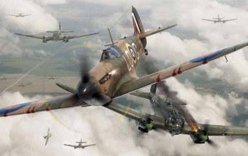 fighter,dogfight,Airplane,Supermarine Spitfire Mk.I,aviation,ww2,painting,war