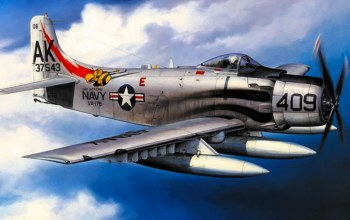 war,Airplane,painting,attacker,aviation,bomber,Douglas A-1 Skyraider