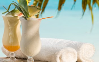 palms,фрукты,drink,cocktails,fruit,tropical,полотенца,beach,Коктейли