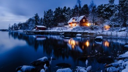 lake,trees,path,cabin,snow,winter,mountain,moon