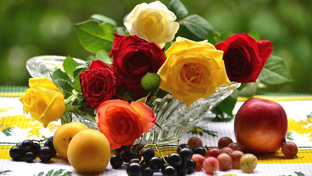 still,roses,fruits,fresh colorful,life,flower,flwers,Bouquet