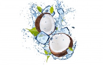листочки,water,coconut,leaflets,ice,Вода,кокос