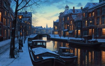 Holland,painting,boats,eugeny lushpin,evening,netherlands,lights,Winter twilight,Amsterdam