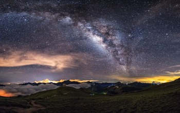 Облака,lights,clouds,Milky way,mountains
