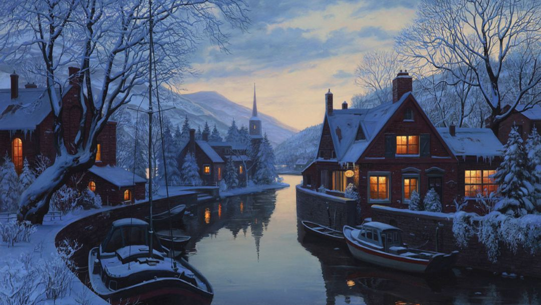 chapel,winter,trees,houses,lushpin,eugeny lushpin,An old inn by the river,snow,painting