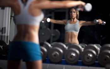 mirror,woman,dumbbells,workout