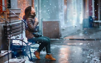 snow,girl,bench