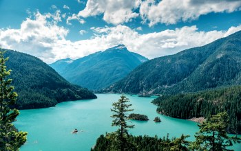 washington,сша,Ross Lake,скалы,Облака