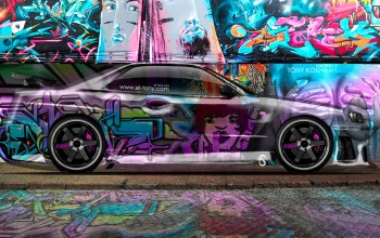 skyline,скайлайн,style,crystal,jdm,graffiti,Tony kokhan,ниссан,Тони Кохан,photoshop,вид сбоку,multicolors,el tony cars,дизайн,side,яркие краски
