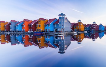 reflection,city of Groningen,house,netherlands,water,sky