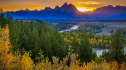 river,Sunset,mountains,Grand teton national park,forest,River Overlook