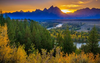 mountains,forest,river,Grand teton national park,River Overlook,Sunset
