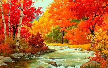 river,forest,patch,autumn,leaves,tree