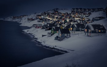 greenland,Cityscape,winter,capital region,Myggedalen,snow,capital,cold,landscape,dark,houses