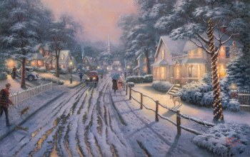 painting,picture,nice,Hometown christmas memories,christmas,thomas kinkade,winter,snow