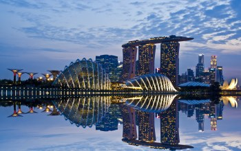architecture,sky,reflection,clouds,Singapore,lights,skyscrapers,gardens by the bay,evening