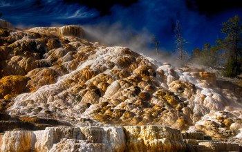 wyoming,вайоминг,Yellowstone national park,Mammoth Hot Springs,горячий источник,сша