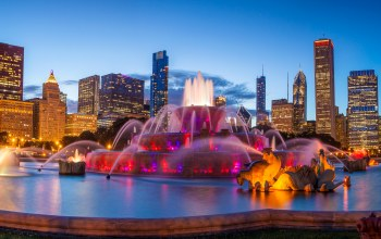 дизайн,фонтан,Buckingham fountain,дома,чикаго,сша,Букингемский фонтан
