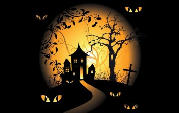 vector art,graveyards,Halloween,Spooky,scary house,trees,black background,vector,eyes,holiday