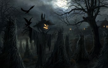 field,Halloween,scary,barn,scarecrow,Spooky,sheaves,pumpkin,holiday,house,ravens,Jack O