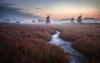 mist,evening,Twilight,fog,Sunset,field,grass,landscape,clouds,stream,windmills,netherlands,sky,Holland