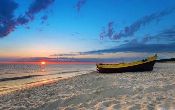 waves,boat,beach,sand,water,evening,Sunset,Twilight,sky,clouds,landscape