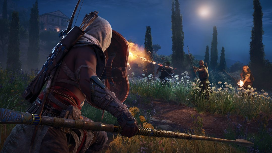 Assassin's Creed,weapon,spear,game,arrow,fight,hood,shield,bow