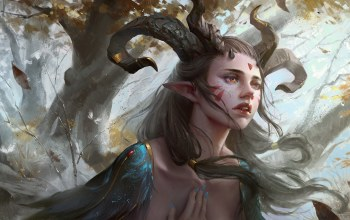 Yuanbin Hu,pointed ears,Horns,feathers,painting,Magic,fantasy,Face,fantasy art,trees,artwork,elf,tattoos,leaves
