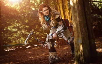 bow,redhead,girl,Horizon Zero Dawn,cosplay,red hairl,Red,weapon,arrow,Hunter,game
