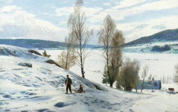 картина,холмы,Peder Mørk Mønsted,Пейзаж,Петер Мёрк Мёнстед,Зима в Однес. Норвегия