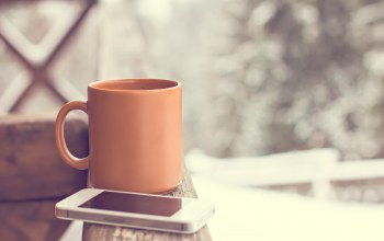 смартфон,coffee,cup,winter,snow