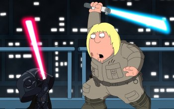 Light saber,cartoon,family guy,fight,Family Guy Presents: Blue Harvest,Darth vader,Jedi,weapon,Family Guy: Blue Harvest,Sith lord,helmet